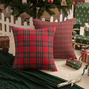 Christmas Plaid Tartan Cushion Cover Xmas Throw Pillow Case Bed Sofa Home Decor