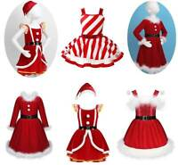 Girls Kid Christmas Costume Princess Party Dress Hat Outfit Sequins Dance Skirts