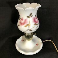 Vintage White with Pink Roses &Gold Milk Glass Dresser Lamp Footed Base Boudoir