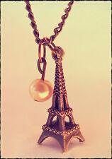 VINTAGE GOLD I Love Paris Charm necklace-bronze EIFFEL tower-jewellery REGALO