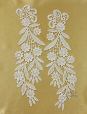 1 Pair Off White Mirror Pair Flower Floral Motif Venise Venice Lace Applique