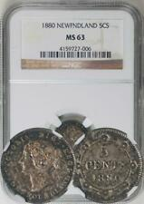 Canada Newfoundland. Victoria 1880 5 Cents NGC MS-63 - NGC Highest Graded! RARE!