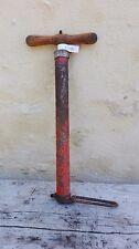 Pompe à vélo manuelle rouge ancienne/manche en bois/old bicycle french pump/