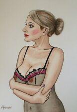 Original Art - Manufaktur Madame NUDE FEMALE,. AKT, Pin Up,Erotic, by Hevesi