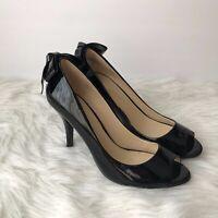 Enzo Angiolini Womens Sz 8M Black Patent Leather Bow Detail Peep Toe Pumps Heels
