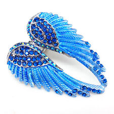 Lovely Blue Angel Wing 5.5cm Long Use Austria Crystal Stretchy Ring