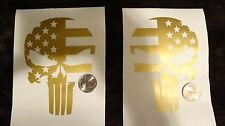 """(2x) 5"""" Gold Subdued Punisher Skull USA Distressed Flag Sticker Die Cut Decal"""