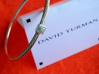 David Yurman Sterling Silver Pave Diamond Confetti Cable  Bangle 3mm Bracelet M