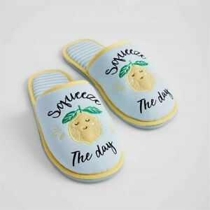 Avon Lemon Squeeze The Day Slippers Yellow Blue