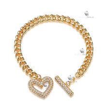 18K YELLOW WHITE GOLD GF MADE WITH SWAROVSKI CRYSTAL TOGGLE BRACELET HEART