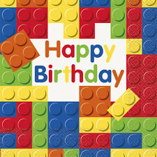BUILDING BLOCKS HAPPY BIRTHDAY LUNCH NAPKINS (16) ~ Party Supplies Dinner Toys