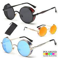 Vintage Polarized Retro Mirror Round Sun Glasses Goggles Steampunk Sunglasses