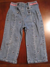Gymboree Girl Embroidered Whale Denim Blue Jean Nautical Pants 2T Euc