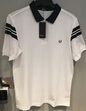 """: Fred Perry : Bomber Sleeve Polo ( L — 42"""" ) White"""
