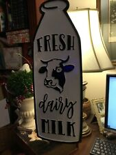 Fresh Dairy Milk-Black & White Enamel Sign-Cow/Milk Bottle Shape-Distressed!