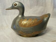 OLD VINTAGE CHINESE PURE PEWTER & BRASS DUCK TRINKET BOX