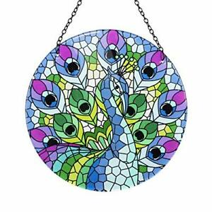 Peacock Colorful Suncatcher 10 Inch & Chain,Window Hanging For Home/Garden Decor