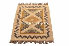 Hand Woven Kilim Rug Ethnic Runner 2X3 Feet Floor Carpet Jute Oriental Area Rug