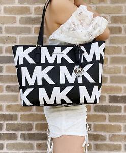 Michael Kors Jet Set Travel Medium Carryall Tote Graphic Logo MK Black White