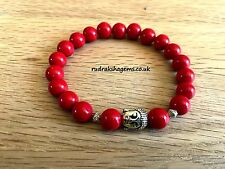 Red Coral Natural Gemstone Bead 8 mm Bracelet Healing Chakra Yoga Elasticated