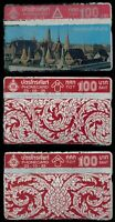 1991-92 Thailand Ratanakosin Thai Art Pattern Red 100b 3 phonecards Unused Lot