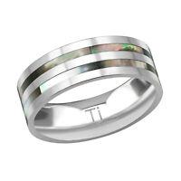8mm Double Abalone Solid TITANIUM Ring Wedding Engagement Band Mens Ladies (J15B