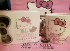 NIB Hello Kitty Cafe Exclusive Ceramic Silver Bow Mug Cup,14 oz, LE Rare