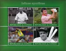 Congo 2018 CTO Babe Ruth Usain Bolt 4v M/S Golf Baseball Athletics Sports Stamps