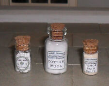 THREE HAND-MADE DOLLS' HOUSE 1/12TH SCALE VICTORIAN GLASS BATHROOM JARS