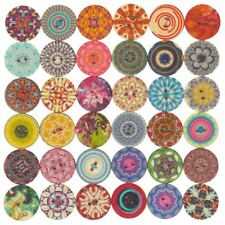 Mixed Flower Painting Round 2 Holes Wood Wooden Buttons for Sewing Crafting I6D3