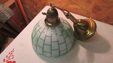 Antique Brass Ceiling Light Fixture & Slag Glass Shade