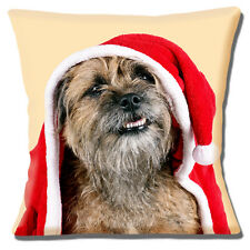 Border Terrier Dog Cushion Cover 16x16 inch 40cm Christmas Theme Santa Hat Coat