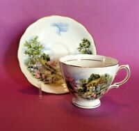Royal Vale Pedestal Teacup & Saucer - Cottage Scene - Ridgway Potteries England
