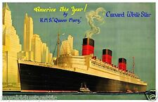 Cunard White Star Queen Mary -  America This Year 11 x 17 poster