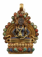 Ghau a Sospensione Amuleto Tibetano Budda Amitayus Lapislazzuli Gau Nepal 25489