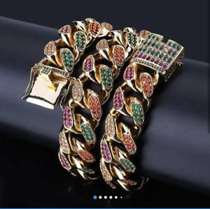 """Multi Color Unique Miami Cuban Link 925 Sterling Silver 18"""" 15 mm Designer Chain"""