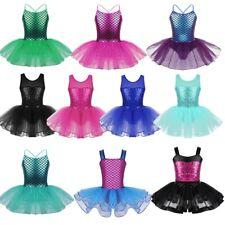 Kid Girls Ballet Dance Dress Outfit Sequins Gym Tutu Skirt Ballerina Costumes