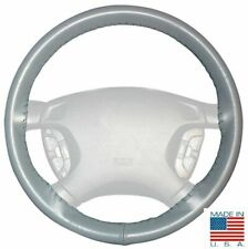 Grey AXX Leather Steering Wheel Cover For GMC Buick & Other Makes