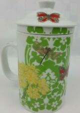World Market Tea Infuser Mug Steeper Insert & Lid Flowers Dragonfly Butterflies