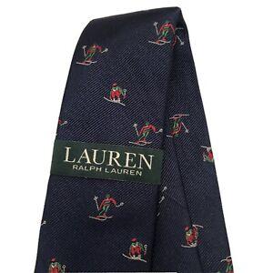 Lauren Ralph Lauren Navy Blue Neck Tie Snow Skiers 100% Silk Hand Made NWT