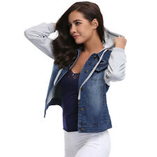 Women Ladies Vintage Layered Hooded Denim Jeans Jacket Outwear Casual Short Coat