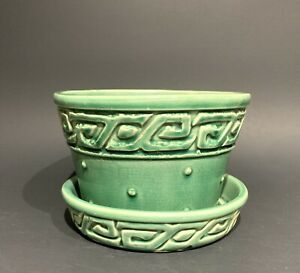 Vintage McCoy Pottery Green Greek Key Hob Nail Flower Pot w/ Attached Saucer