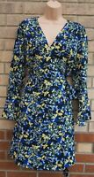 MARKS & SPENCER BLUE BLACK YELLOW FLORAL LONG SLEEVE WRAP BELTED A LINE DRESS 10