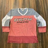 Rare 90's Vintage DKNY Athletic Hockey Jersey Rap Hip Hop Motocross Shirt Sz L