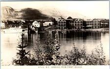 RPPC   ATLIN, B.C.  Canada   Looking from FIRST ISLAND  Real Photo  Postcard