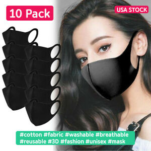 10Pack Black Face Mask Nose Cover 3D Fashion Stretch Unisex Reusable Washable