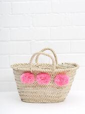 Rosa claro pequeño Pom Pom Mini Cesta De Playa de mercado francés bolsa de paja Bolsón Para las compras