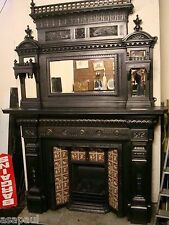 victorian cast iron fireplace with overmantel mirror.. tiled insert is sold