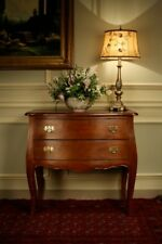 Solid Mahogany Wood 2 Drawer Bombe Chest H83 W90 x D50cm Antique Wax