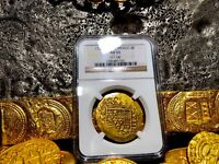MEXICO 1720/19 DATED GOLD 8 ESCUDOS NGC 53 POP 1 SHIPWRECK PIRATE TREASURE COIN
